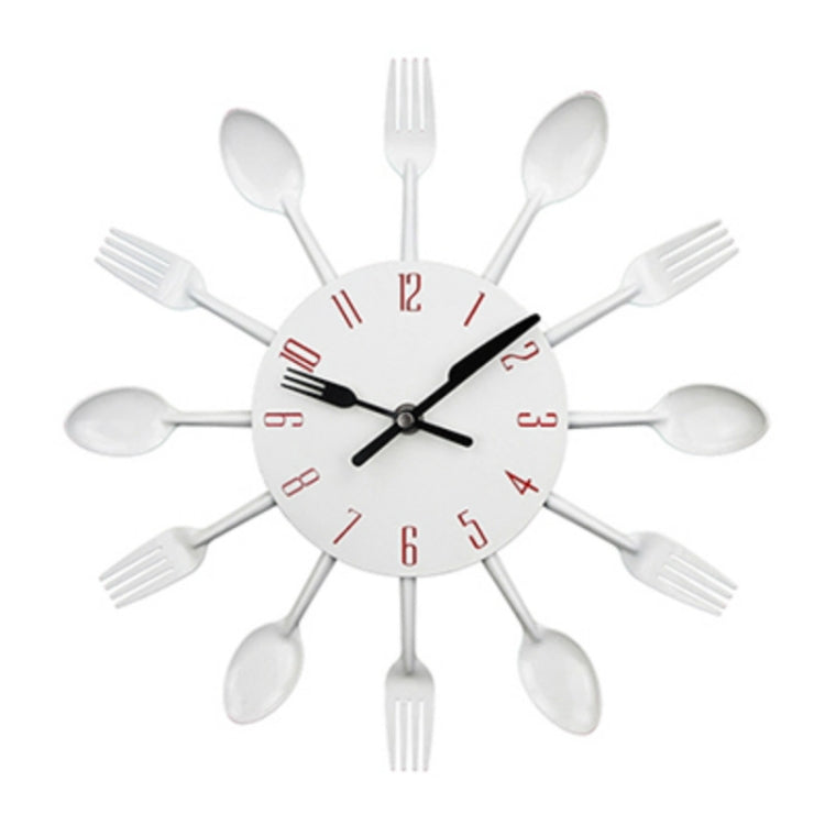 Cutlery Metal Kitchen Wall Clock Spoon Fork Creative Quartz Wall Mounted Clocks Modern Design Decorative Horloge White - star-produkte.myshopify.com