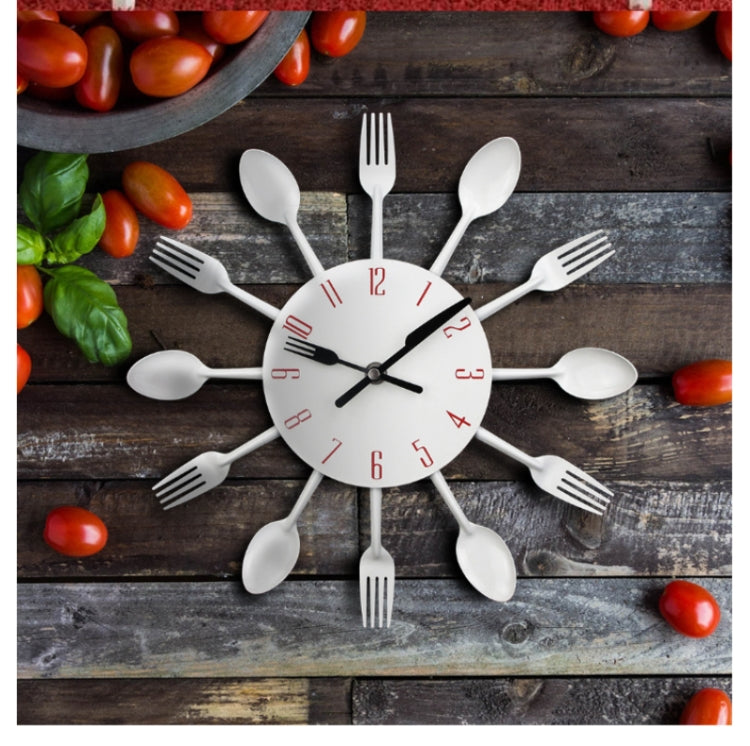 Cutlery Metal Kitchen Wall Clock Spoon Fork Creative Quartz Wall Mounted Clocks Modern Design Decorative Horloge Black - Star Produkte