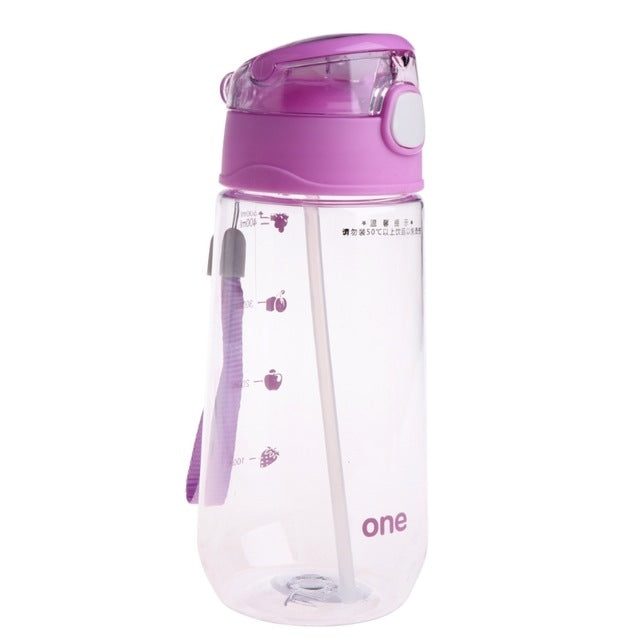500ML Baby Kids Children Portable Plastic Feeding Drinking Water Bottle Cup with Straw(Purple) |