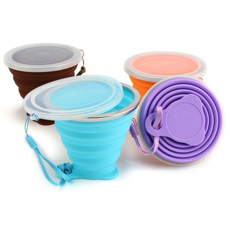 Food Grade Silicone Folding Cup with Dust-Proof Cover Lid Poratbale Cammping Travel Outdoor Water Drinking Cup Mini Telescopic Cup(Purple) - Star Produkte