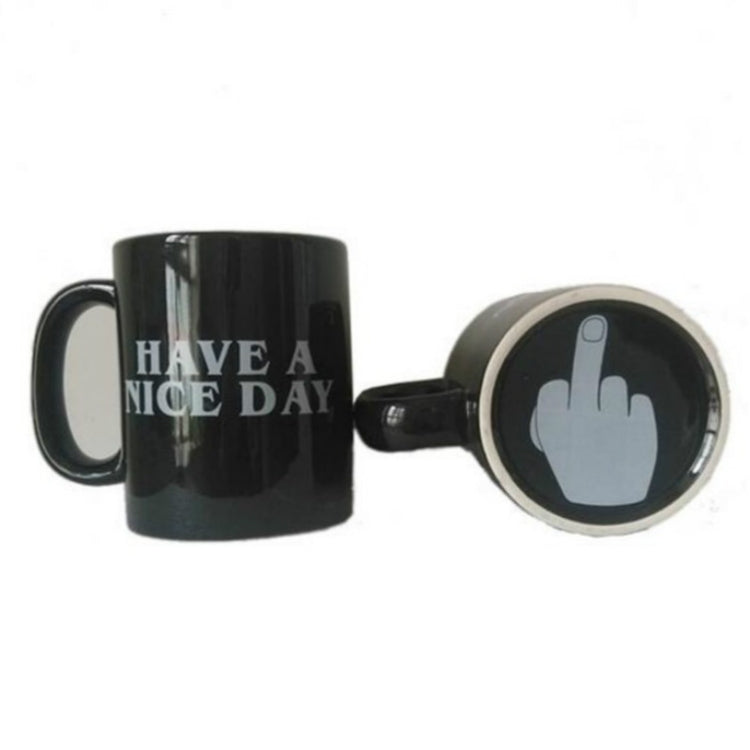 6 PCS Creative Have A Nice Day Middle Finger Funny Coffee Milk Tea Cups Gifts(Black) |