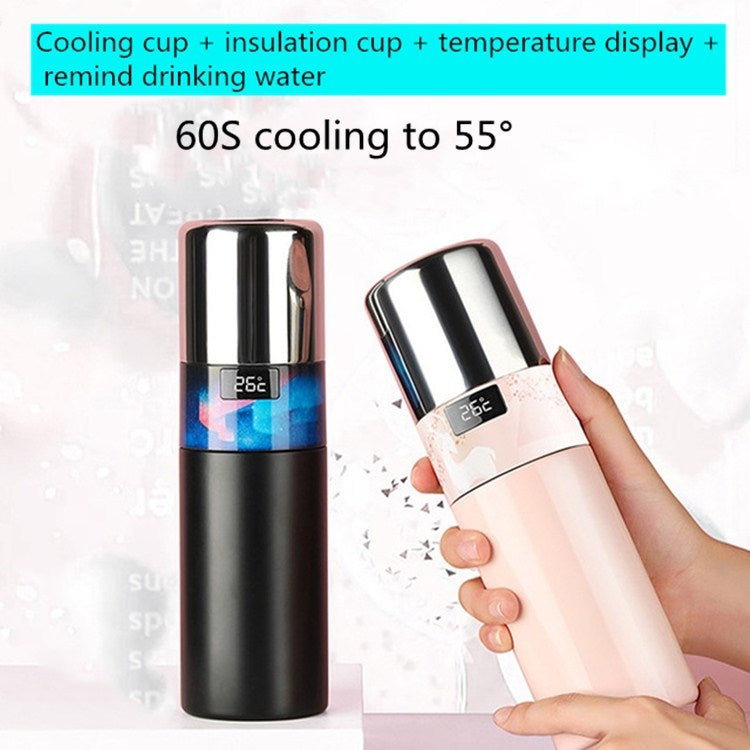 Creative Intelligent USB Rechargeable Cold Warm Cup Cool 55 Degrees Vacuum Flask With Handle 316 Stainless Steel Smart Water Cup, Capacity:340ml, Style:Black Aurora - Star Produkte