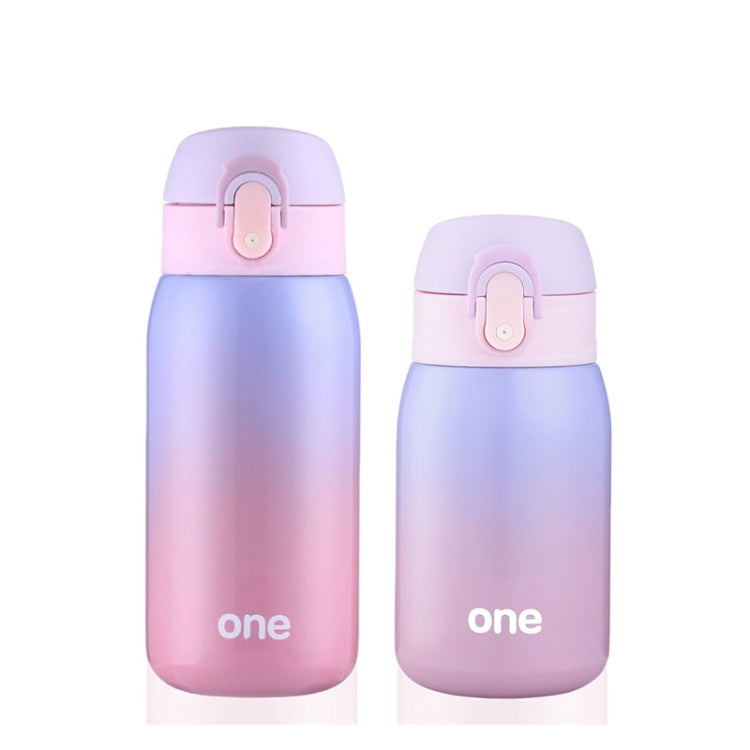 Gradient Color Baby Stainless Steel  Milk Thermos Children Insulated Bottle Leak-poof Thermal Cup(320ml Purple Pink) - Star Produkte
