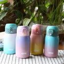 Gradient Color Baby Stainless Steel  Milk Thermos Children Insulated Bottle Leak-poof Thermal Cup(320ml Green Pink) - Star Produkte