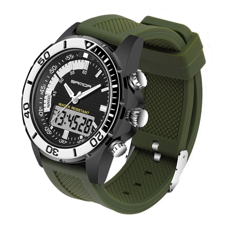 SANDA 5296 LED Night Light Display & Stopwatch & Alarm & Date and Week Function Men Quartz + Digital Dual Movement Watch with Silicone Band (Green + Black) - star-produkte.myshopify.com
