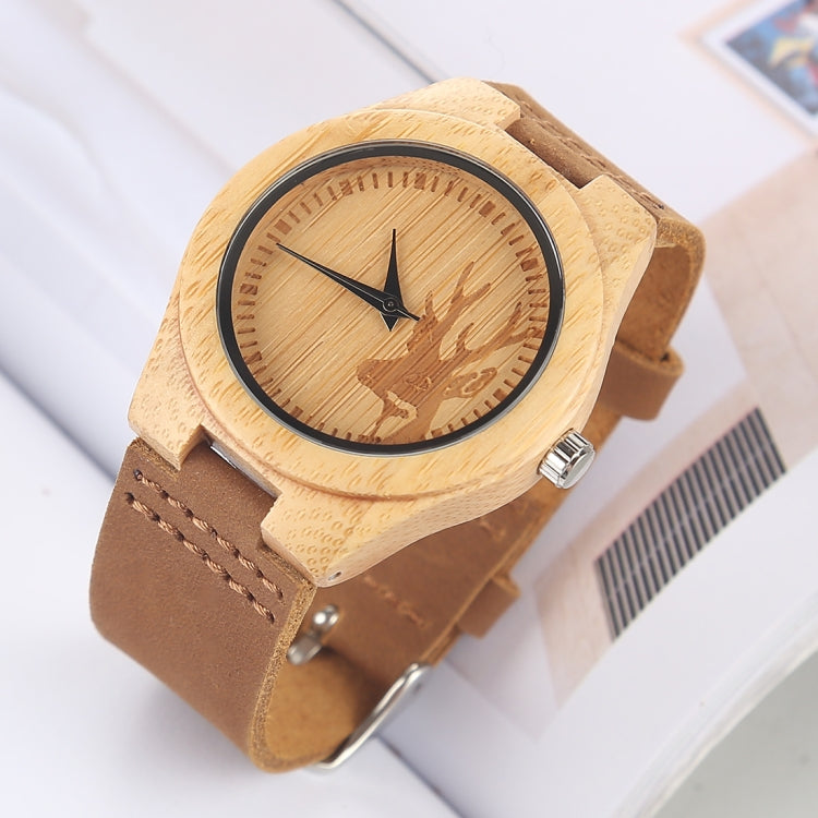 Fashion Personality Small Round Dial Bamboo Shell Watch with Leather Strap - Star Produkte