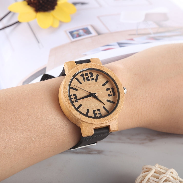 Fashion Personality Big Round Dial Bamboo Shell Watch with Leather Strap - Star Produkte