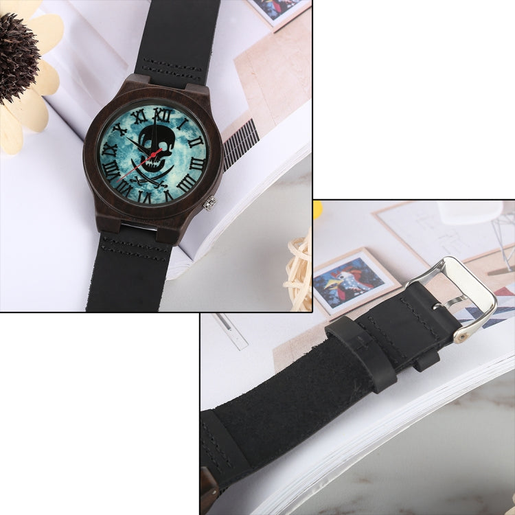 Fashion Personality Round Dial Wooden Shell Watch with Leather Strap - Star Produkte