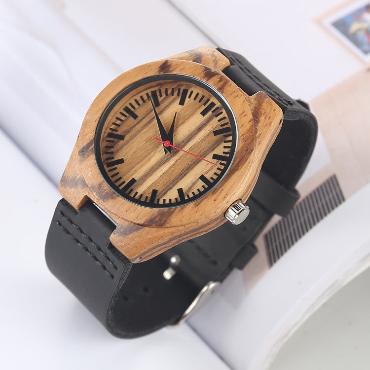 Fashion Personality Small Round Dial Wooden Shell Watch with Leather Strap(Black) - Star Produkte