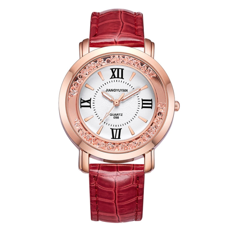 1745 JIAYUYAN Fashion Women Quartz Wrist Watch with PU Leather Band and Alloy Watch Case(Red) - Star Produkte