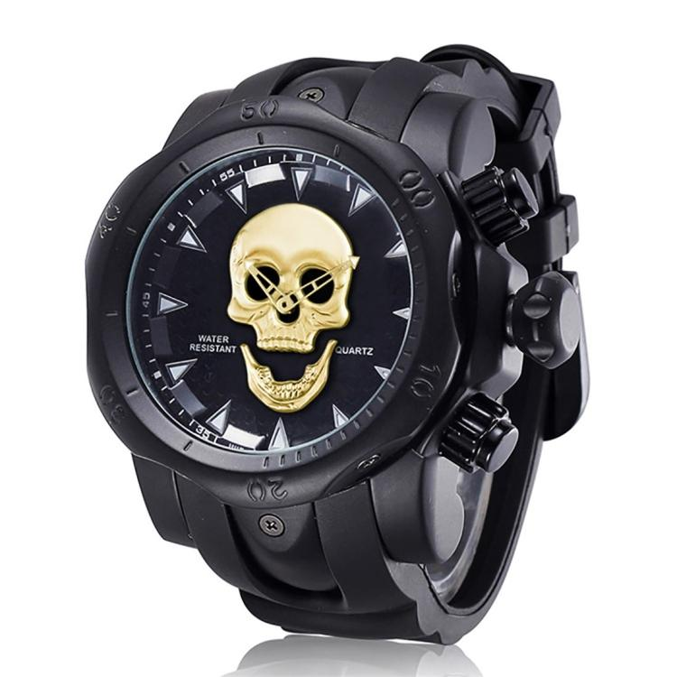 1660 Shock Resistant Fashionable  & Casual Style Quartz Business Sport Wrist Watch with Rubber Band & Alloy Case with Skull Shaped Watch  for Men (Black Gold) - Star Produkte