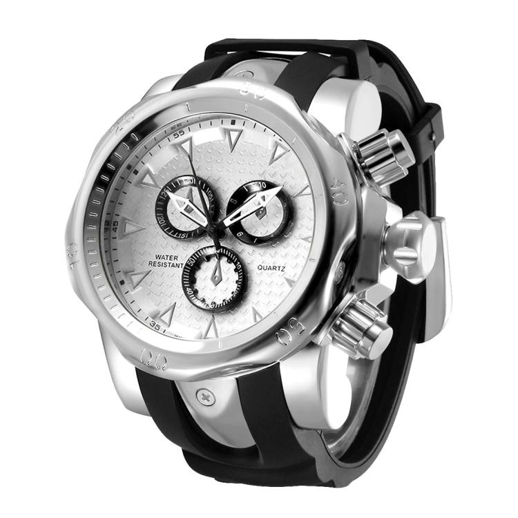 1670 Shock Resistant Fashionable Quartz Business Sport Wrist Watch with Rubber Band & Alloy Case for Men (Black White) - Star Produkte