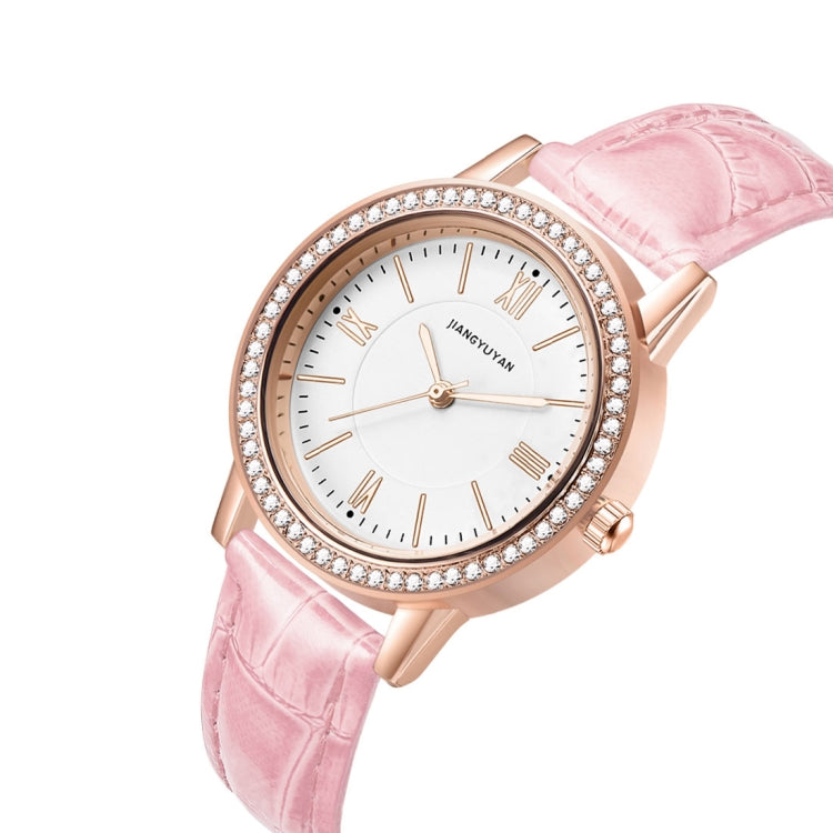 1665JIAYUYAN Fashion  Women Quartz Wrist Watch with PU Leather band and alloy watch case (Pink) - Star Produkte