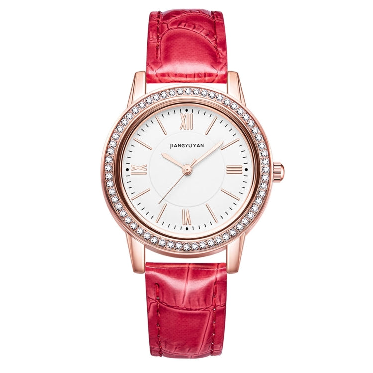 1665JIAYUYAN Fashion  Women Quartz Wrist Watch with PU Leather band and alloy watch case (Red) - Star Produkte