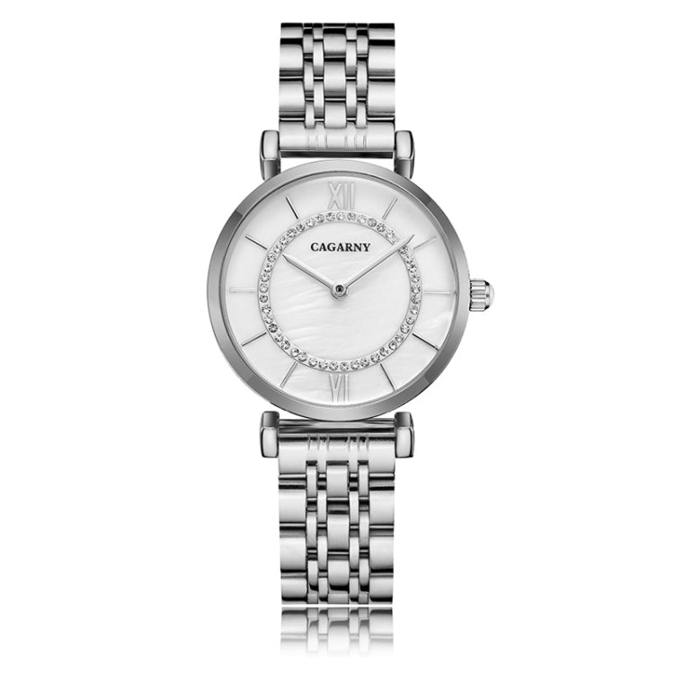 CAGARNY 6880 Fashion Life Waterproof White Background Silver Steel Band Quartz Watch - star-produkte.myshopify.com