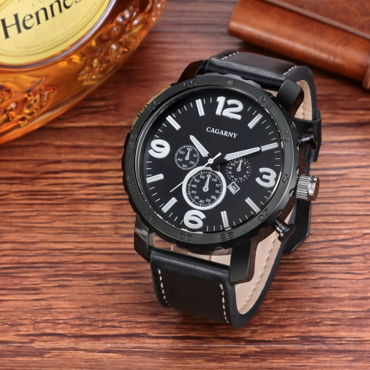 CAGARNY 6845 Fashion Dual Quartz Movement Wrist Watch with Leather Band(Black Band Black Window) - Star Produkte