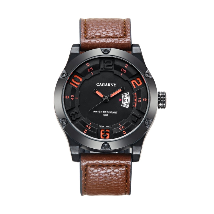 CAGARNY 6858 Fashion Dual Quartz Movement Wrist Watch with Leather Band(Coffee) - star-produkte.myshopify.com