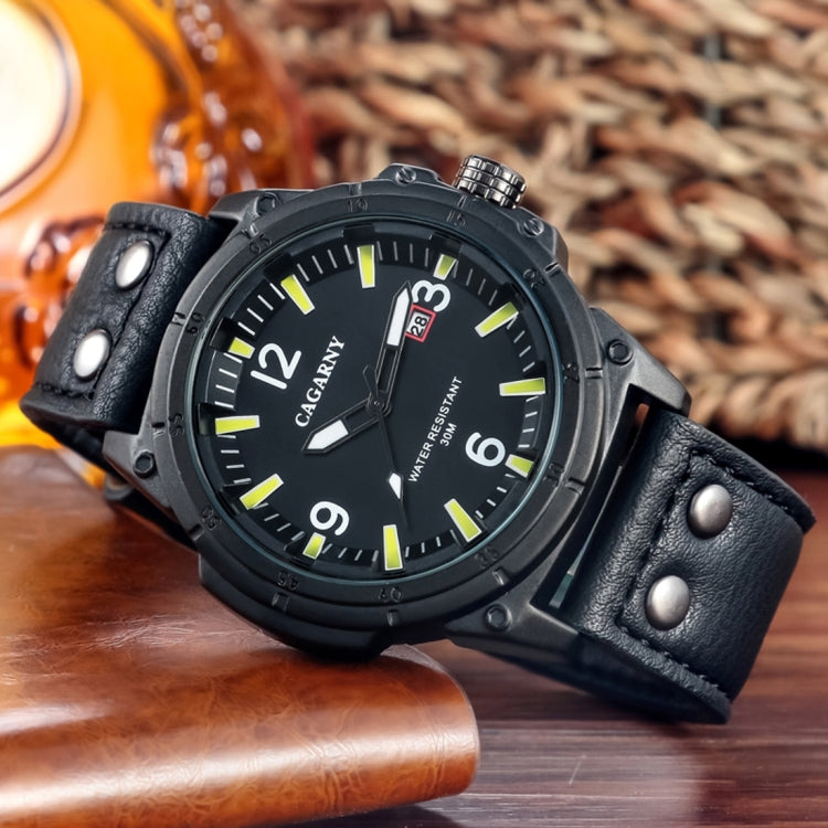 CAGARNY 6853 Fashion Waterproof Quartz Movement Wrist Watch with Leather Band(Yellow Scale) - Star Produkte