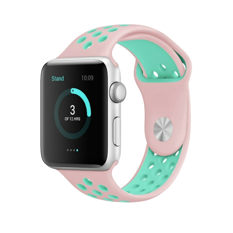 For Apple Watch Series 6 & SE & 5 & 4 44mm / 3 & 2 & 1 42mm Fashionable Classical Silicone Sport Watchband(Pink Green) - Star Produkte