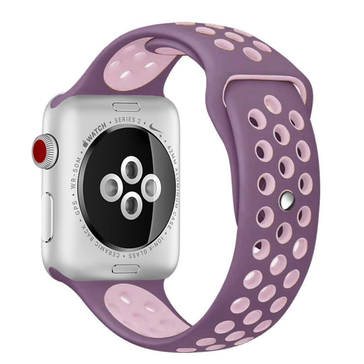 For Apple Watch Series 6 & SE & 5 & 4 44mm / 3 & 2 & 1 42mm Fashionable Classical Silicone Sport Watchband(Purple Powder) - star-produkte.myshopify.com