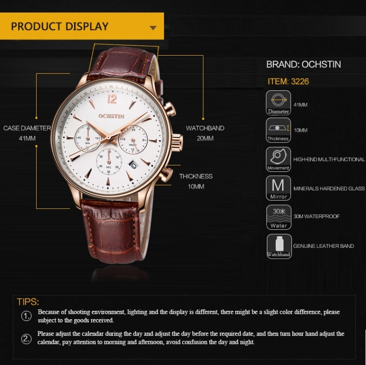OCHSTIN 322604 3ATM Waterproof Quartz Movement Three Functional Sub Dials(24 Hours, Minute, Second) Waist Watch with Leather Band & Calendar Display Function for Men(Black Band Rose Gold Case) - Star Produkte