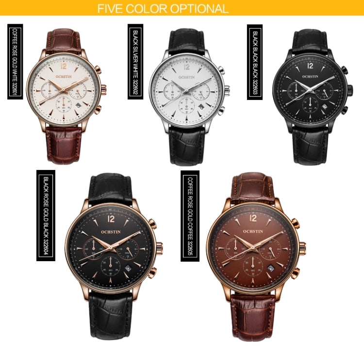 OCHSTIN 322605 3ATM Waterproof Quartz Movement Three Functional Sub Dials(24 Hours, Minute, Second) Waist Watch with Leather Band & Calendar Display Function for Men(Coffee Band Coffee Window) - Star Produkte