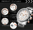 JEDIR 527501 3ATM Waterproof Rome Scale Quartz Movement Three Functional Sub Dials(24 Hours, Stopwatch, Second & Minute Pointer) Waist Watch with Leather Band & Calendar Display Function for Men(Black) - Star Produkte