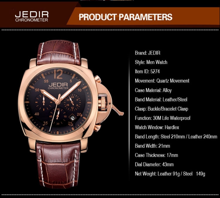 JEDIR 527406 3ATM Waterproof Arabic Numerals Scale Quartz Movement Three Functional Sub Dials(24 Hours, Stopwatch, Minute) Waist Watch with Leather Band & Calendar Display Function for Men(Black Band Black Window) - star-produkte.myshopify.com