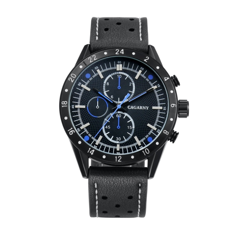CAGARNY 6828 Fashionable Multifunctional Quartz Sport Wrist Watch with Leather Band & GMT Time & Calendar & Luminous Display for Men(Black Window Blue Needle) - Star Produkte