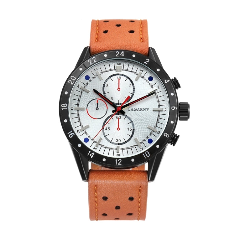 CAGARNY 6828 Fashionable Multifunctional Style Quartz Sport Wrist Watch with Leather Band & GMT Time & Calendar & Luminous Display for Men(White Window Red Needle) - star-produkte.myshopify.com