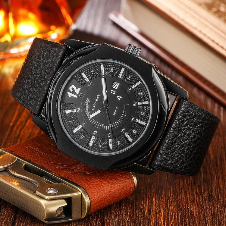 CAGARNY 6838(1) Fashionable Quartz Wrist Watch with Leather Band for Men(Black Window White Scale) - star-produkte.myshopify.com