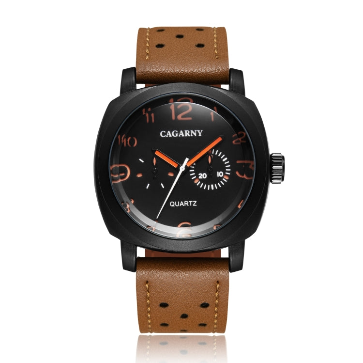 CAGARNY 6833 Fashionable Quartz Five Needles Sport Wrist Watch with Leather Band for Men - Star Produkte