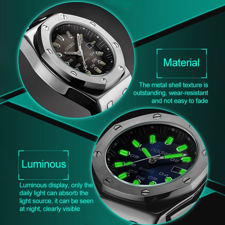 addies MY-052 Business Multifunctional Luminous Watch Silicone Watchstrap Watch for Men(Black Blue) - star-produkte.myshopify.com