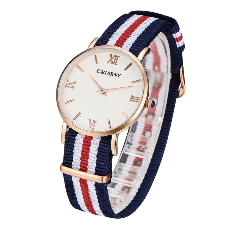 CAGARNY 6813 Fashionable Ultra Thin Rose Gold Case Quartz Wrist Watch with 5 Stripes Nylon Band for Women(Red) - star-produkte.myshopify.com