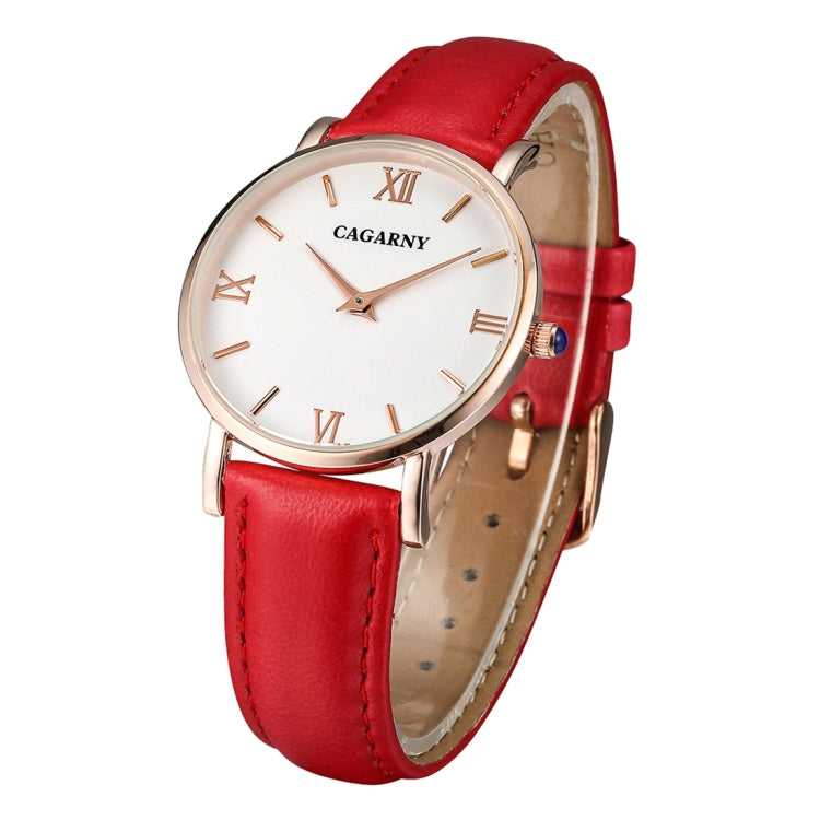 CAGARNY 6813 Concise Style Ultra Thin Rose Gold Case Quartz Wrist Watch with Leather Band for Women(Red) - Star Produkte