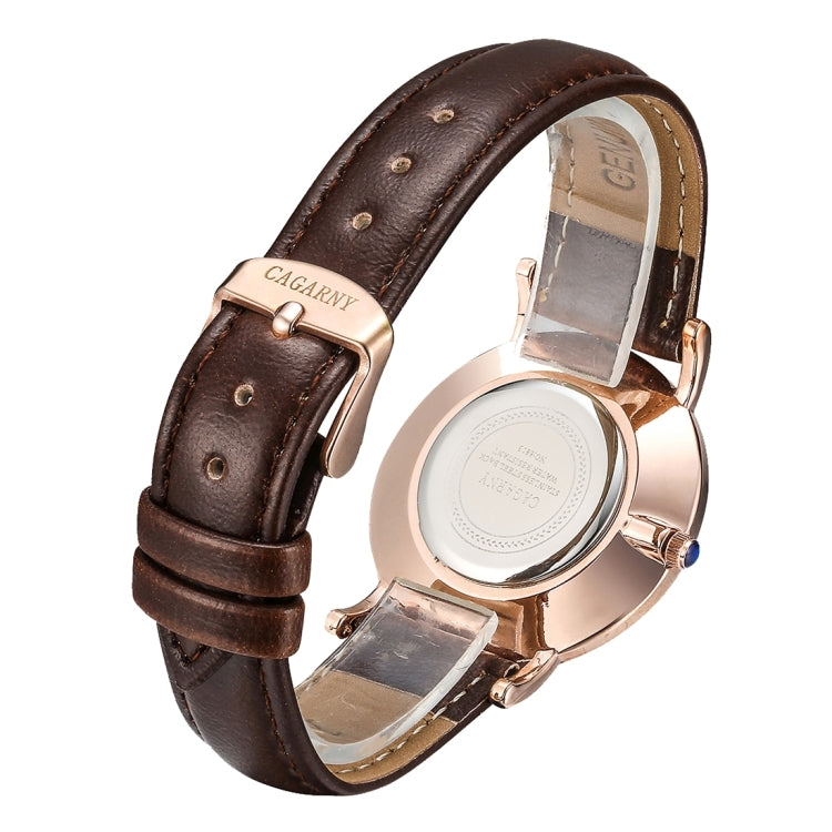 CAGARNY 6813 Concise Style Ultra Thin Rose Gold Case Quartz Wrist Watch with Leather Band for Women(Brown) - Star Produkte