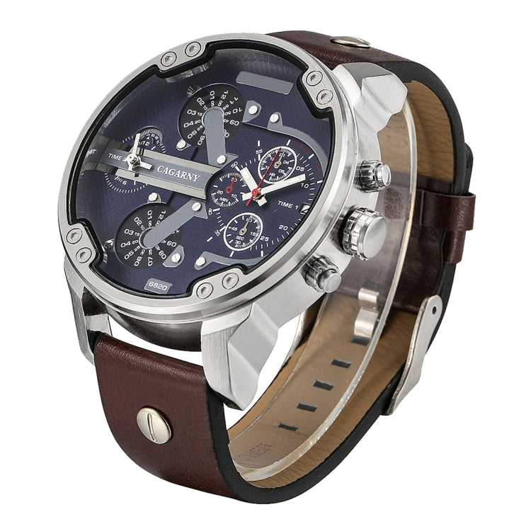CAGARNY 6820 Fashionable Multifunctional Style Quartz Business Sport Wrist Watch with Leather Band & GMT Time & Calendar & Luminous Display for Men(Brown) - star-produkte.myshopify.com