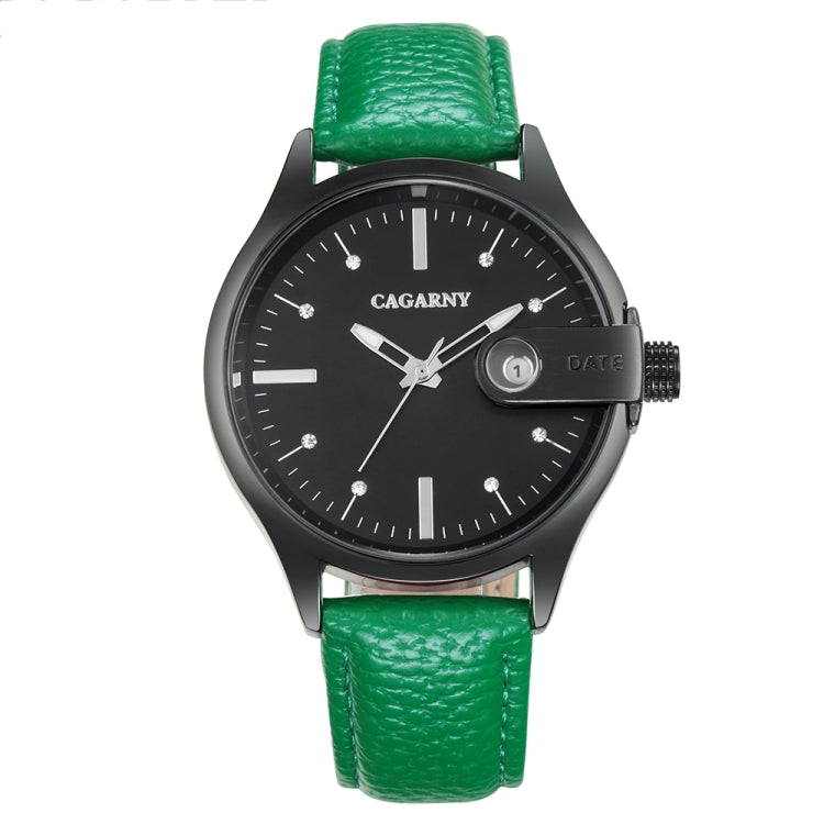 CAGARNY 6873 Living Waterproof Round Dial Quartz Movement Alloy Case Fashion Watch Quartz Watches with Leather Band(Green) - star-produkte.myshopify.com