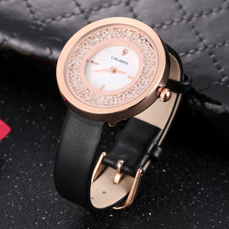 CAGARNY 6878 Water Resistant Fashion Women Quartz Wrist Watch with Leather Band(Black+Gold+White) - Star Produkte