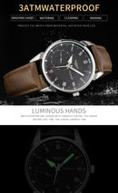 YAZOLE 427 Men Fashion Business PU Leather Band Quartz Wrist Watch, Luminous Points (White Dial + Brown Strap) - Star Produkte