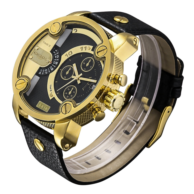 CAGARNY 6818 Fashionable DZ Style Large Dial Dual Clock Quartz Movement Sport Wrist Watch with Leather Band & Calendar Function for Men(Black Band Gold Case) - Star Produkte