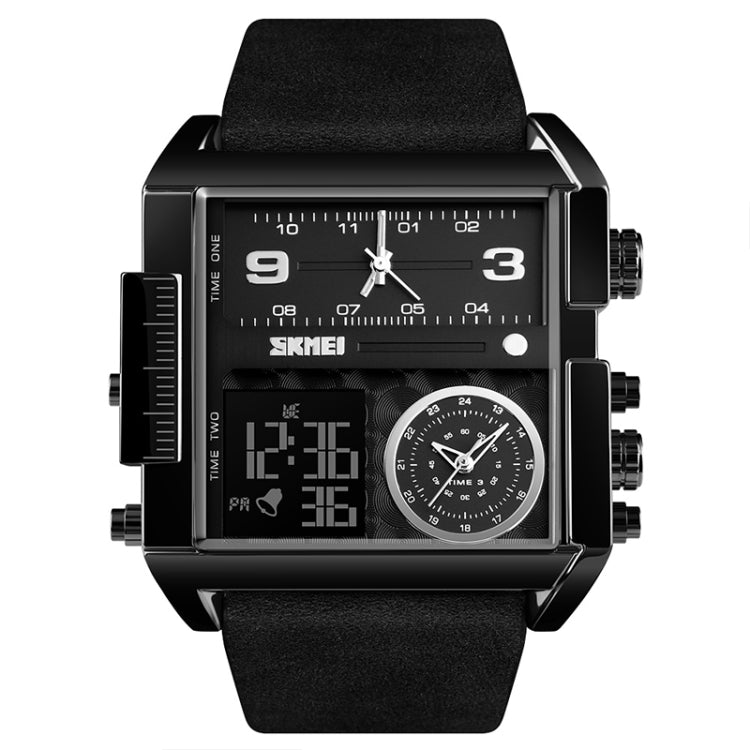 SKMEI 1391 Multifunctional Men Business Digital Watch 30m Waterproof Square Dial Wrist Watch with Leather Watchband(Black) - Star Produkte