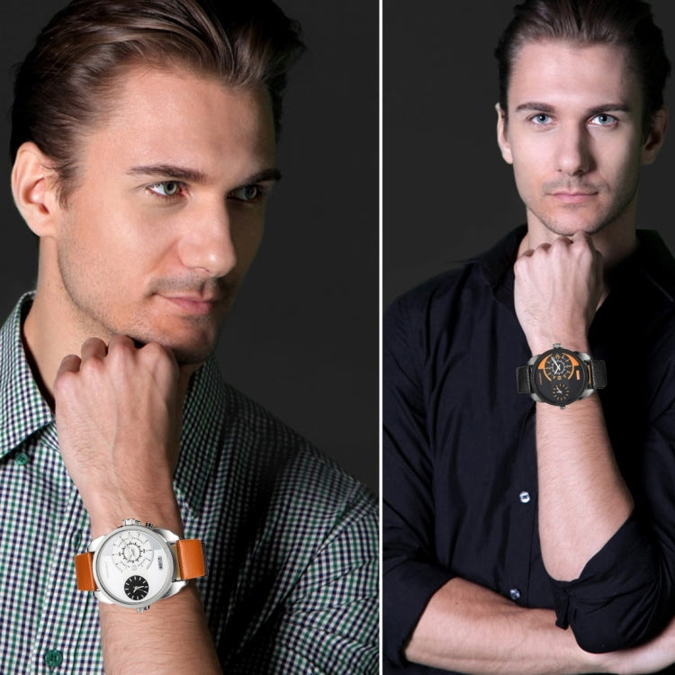 CAGARNY 6813 Fashionable  Dual Clock Quartz Business Wrist Watch with Leather Band for Men(Black Case Black Band) - star-produkte.myshopify.com