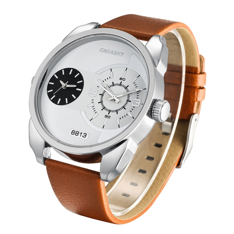 CAGARNY 6813 Fashionable  Dual Clock Quartz Business Wrist Watch with Leather Band for Men(White Case Brown Band) - Star Produkte