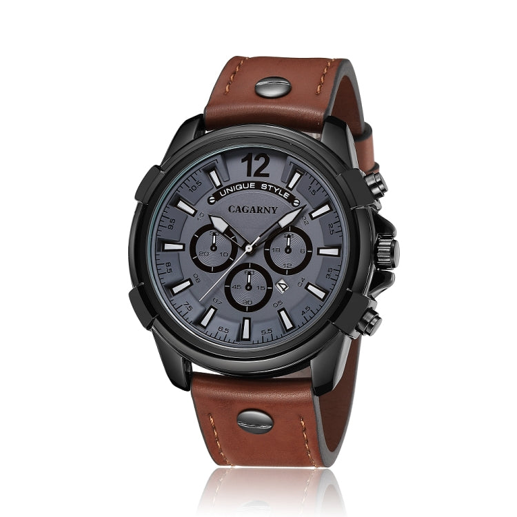 CAGARNY 6882 Fashion Waterproof Polychromatic Metal Shell Quartz Watch with Leather Wristband - Star Produkte