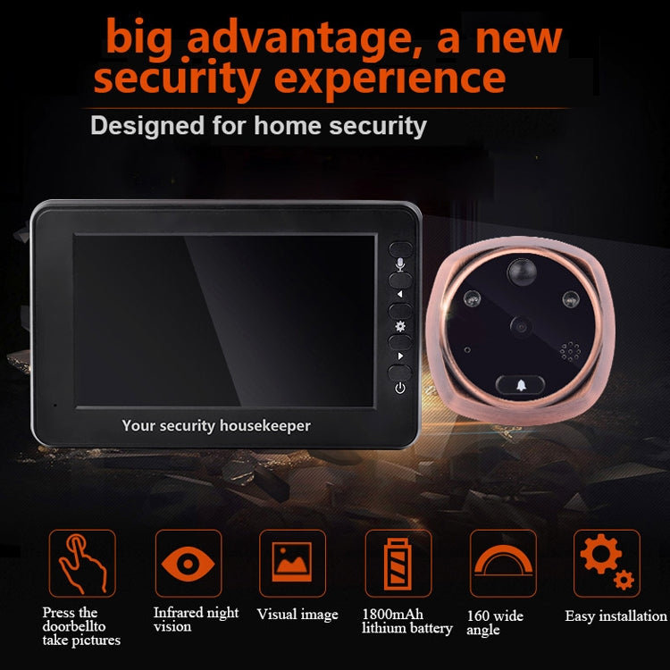 M4300A 4.3 inch Display Screen 3.0MP Camera Video Smart Doorbell, Support TF Card (32GB Max) & Motion Detection & Infrared Night Vision - star-produkte.myshopify.com