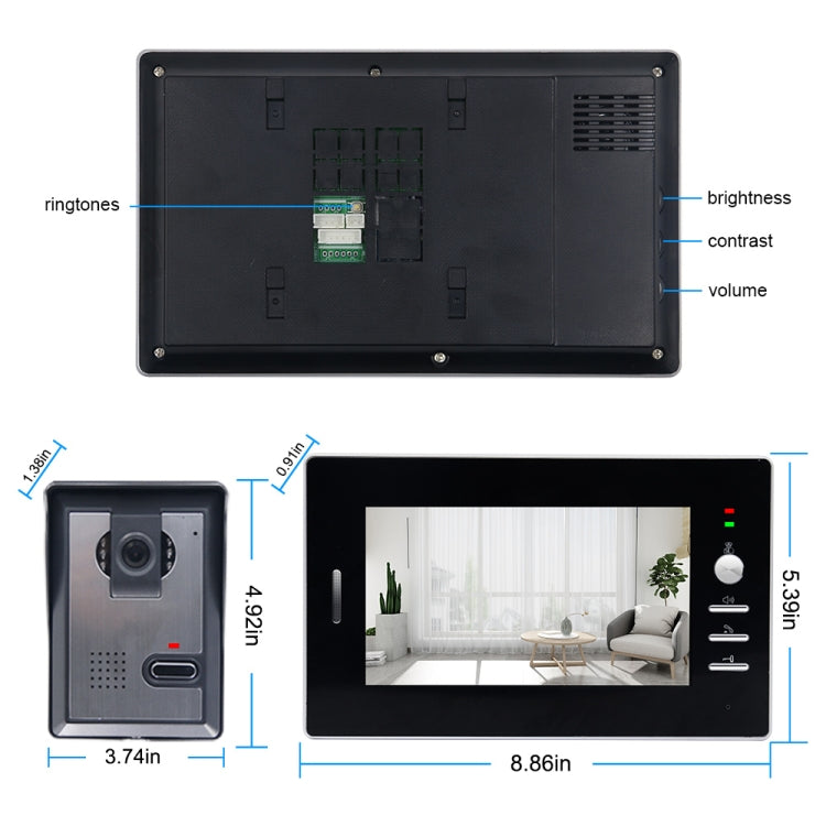 TS-YP710MA 7 inch Screen Smart Video Doorbell Peephole Viewer, Support Visual Intercom & Night Vision & Real-time Monitoring - star-produkte.myshopify.com
