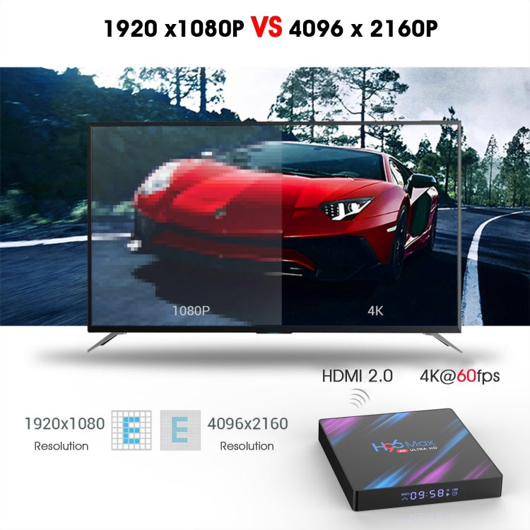 H96 Max-3318 4K Ultra HD Android TV Box with Remote Controller, Android 9.0, RK3318 Quad-Core 64bit Cortex-A53, WiFi 2.4G/5G, Bluetooth 4.0, 4GB+64GB - Star Produkte