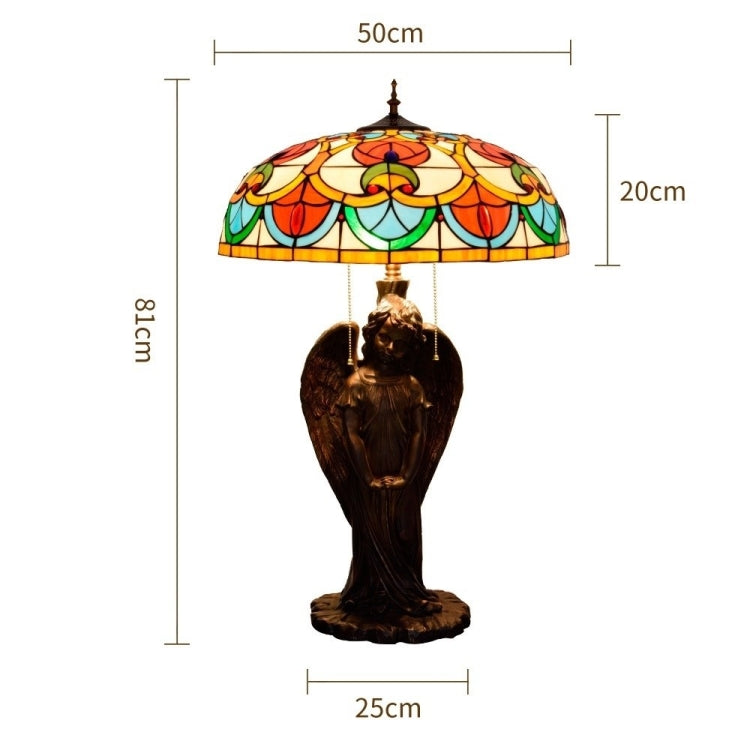 YWXLight Retro Creative Angel Unique Glass Mosaic Lampshade Table Lamp Living Room Dining Room Bedroom Personality Decorative Light (EU Plug) |
