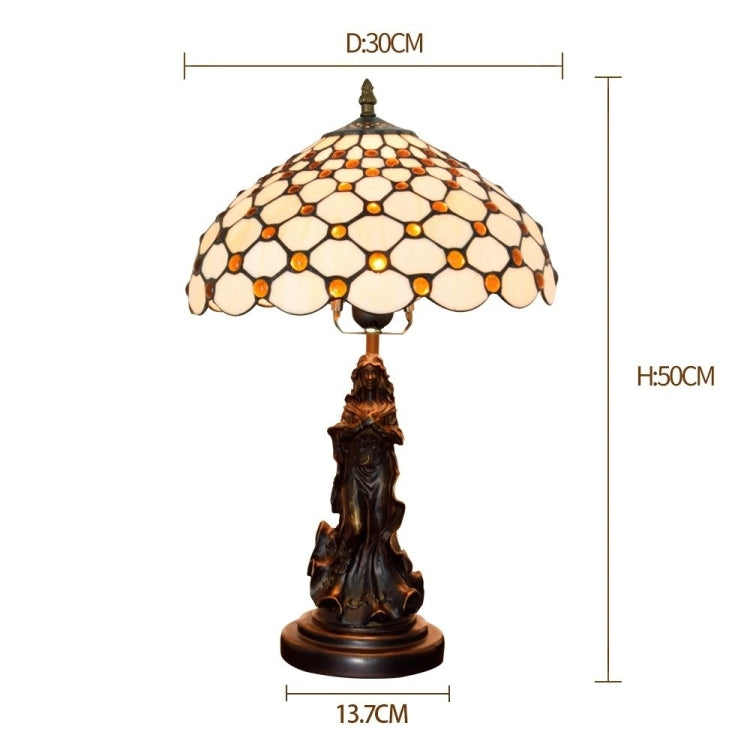 YWXLight Retro Stained Glass Lampshade Table Lamp Living Room Dining Room Bedroom Bedside Light (UK Plug) |